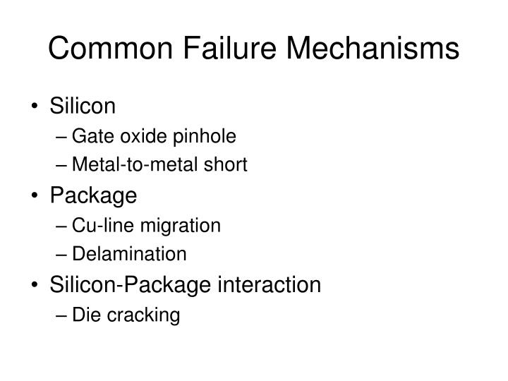 Common Failure Mechanisms