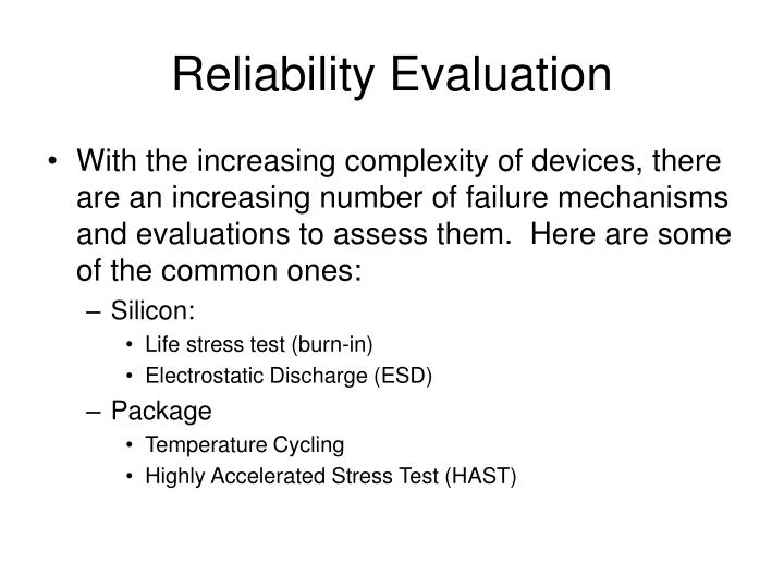 Reliability Evaluation