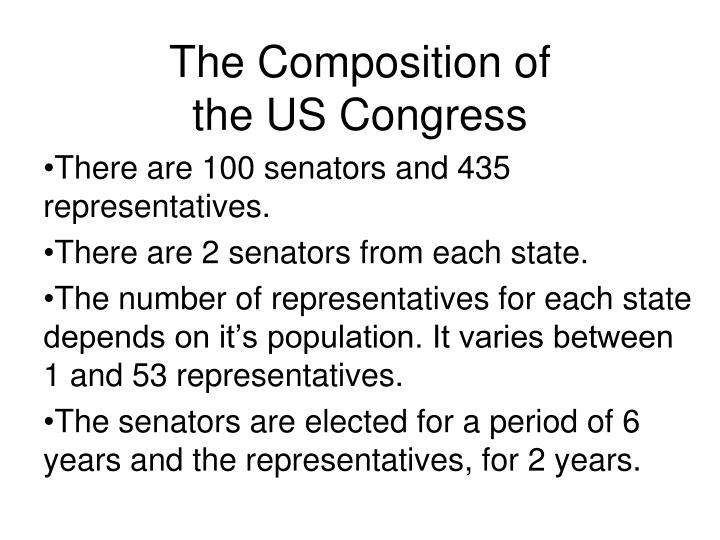 the composition of the us congress n.