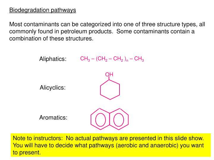 Biodegradation pathways