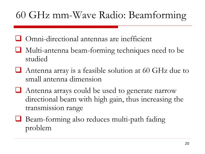 60 GHz mm-Wave Radio: Beamforming