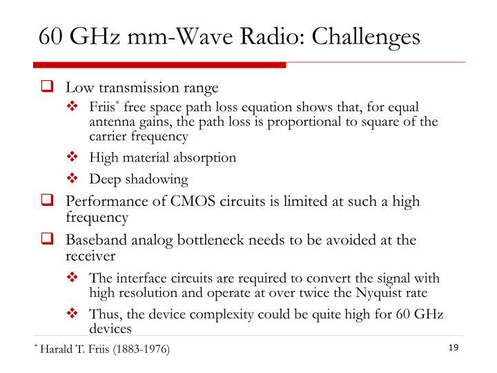 60 GHz mm-Wave Radio: Challenges