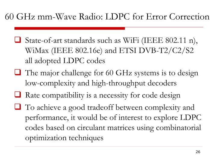 60 GHz mm-Wave Radio: LDPC for Error Correction