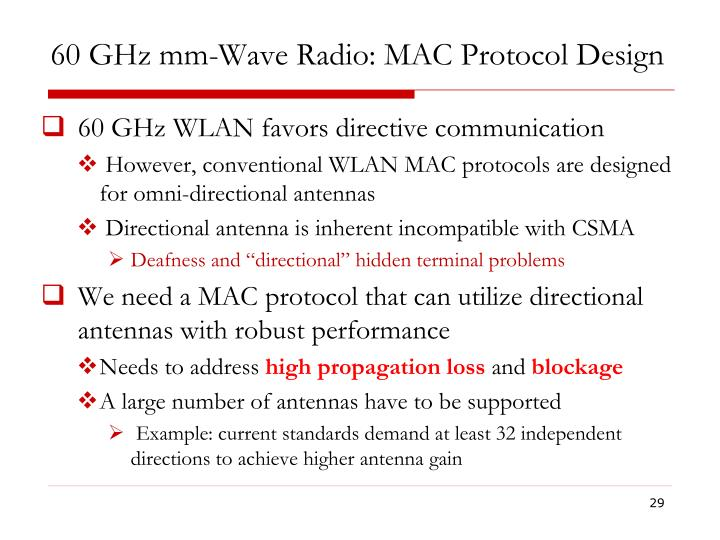 60 GHz mm-Wave Radio: MAC Protocol Design