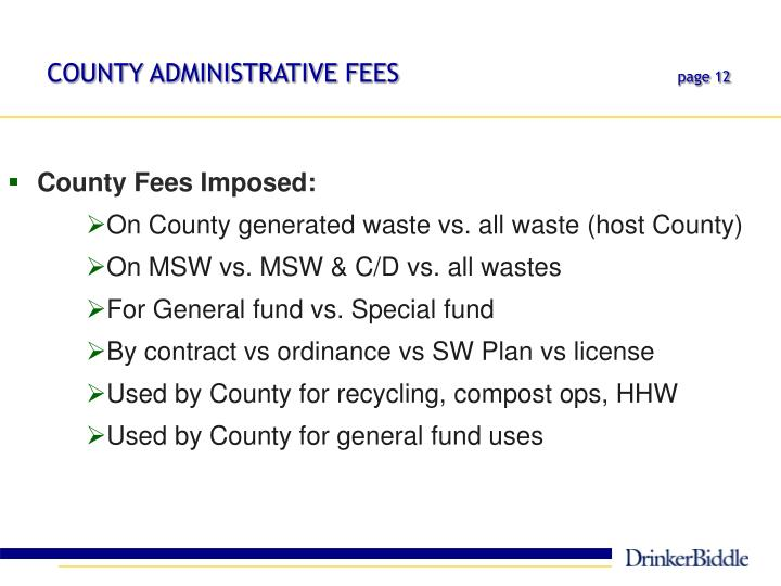 COUNTY ADMINISTRATIVE FEES