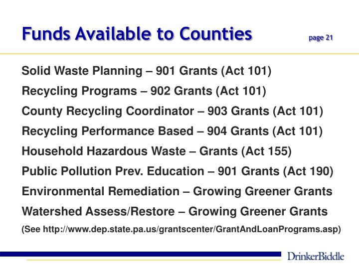 Funds Available to Counties