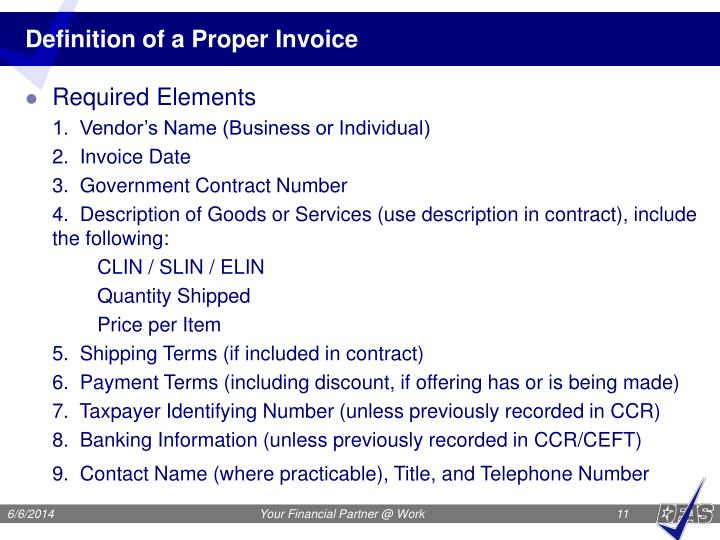 Definition of a Proper Invoice