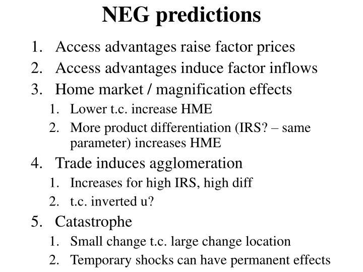 NEG predictions
