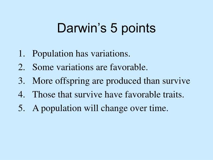 Darwin's 5 points