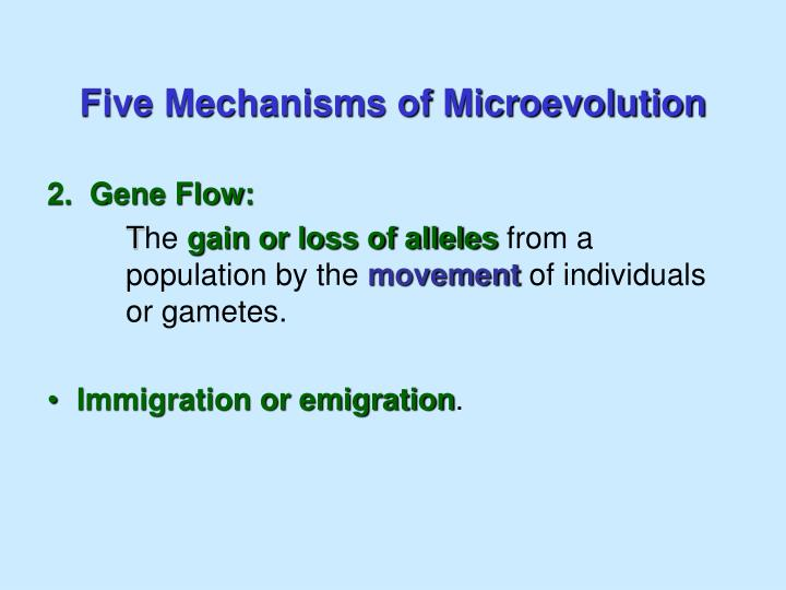 Five Mechanisms of Microevolution