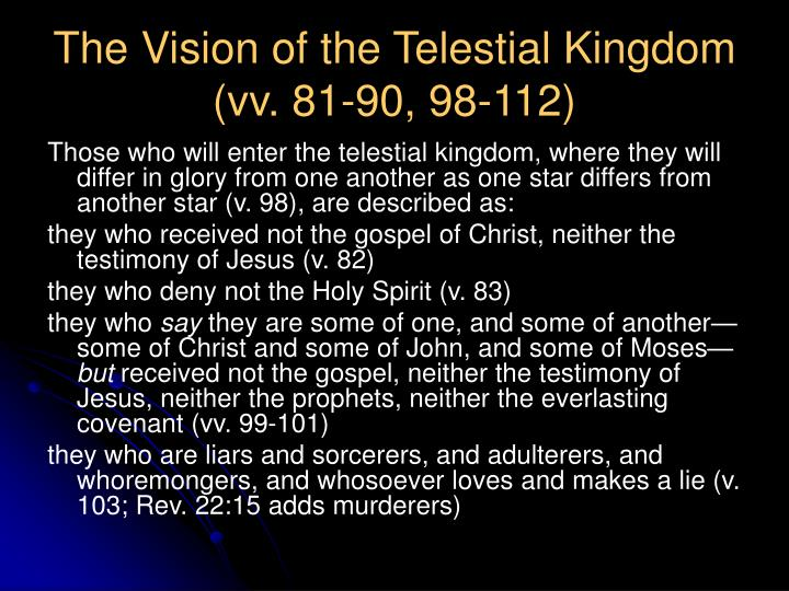 The Vision of the Telestial Kingdom (vv. 81-90, 98-112)
