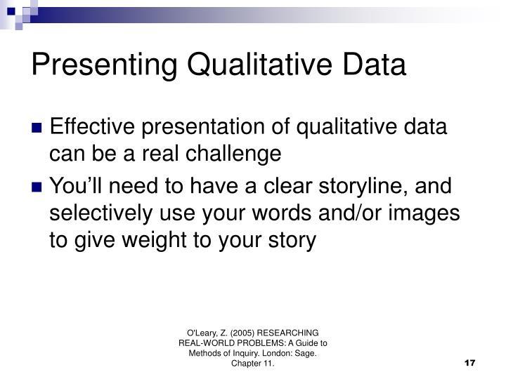 Presenting Qualitative Data