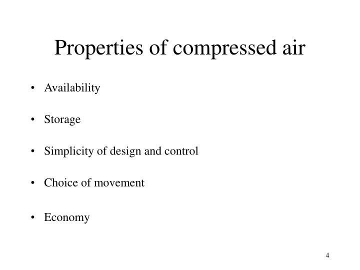 Properties of compressed air