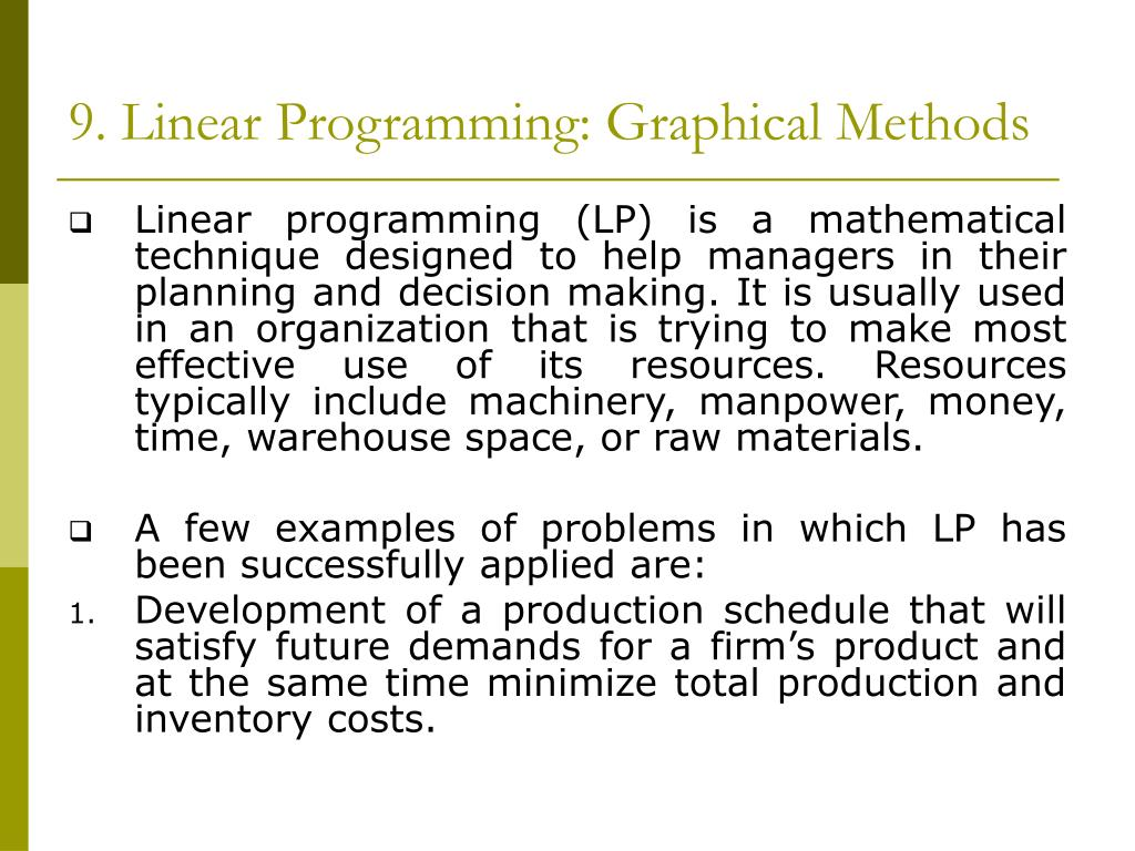 PPT - LINEAR PROGRAMMING: GRAPHICAL METHODS PowerPoint Presentation