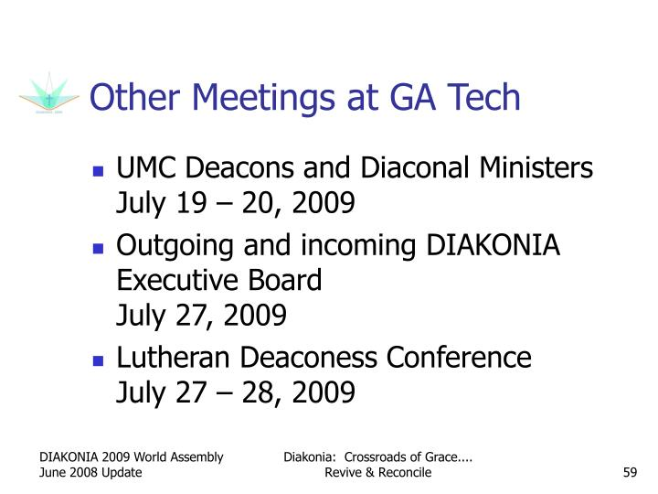 Other Meetings at GA Tech