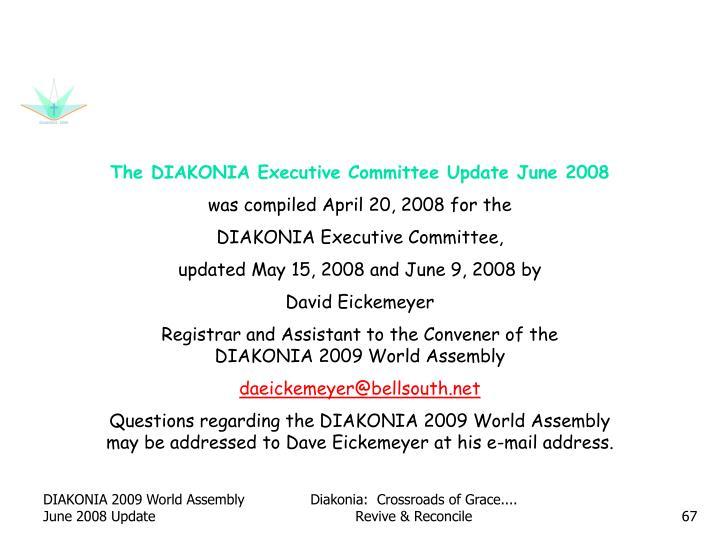 The DIAKONIA Executive Committee Update June 2008