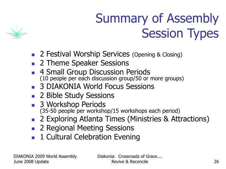 Summary of Assembly