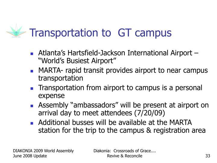Transportation to  GT campus