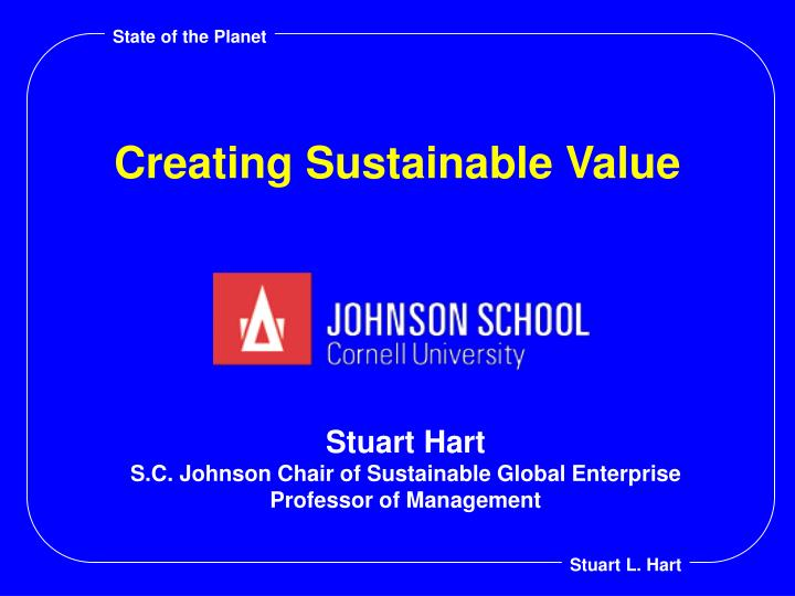 creating sustainable value n.