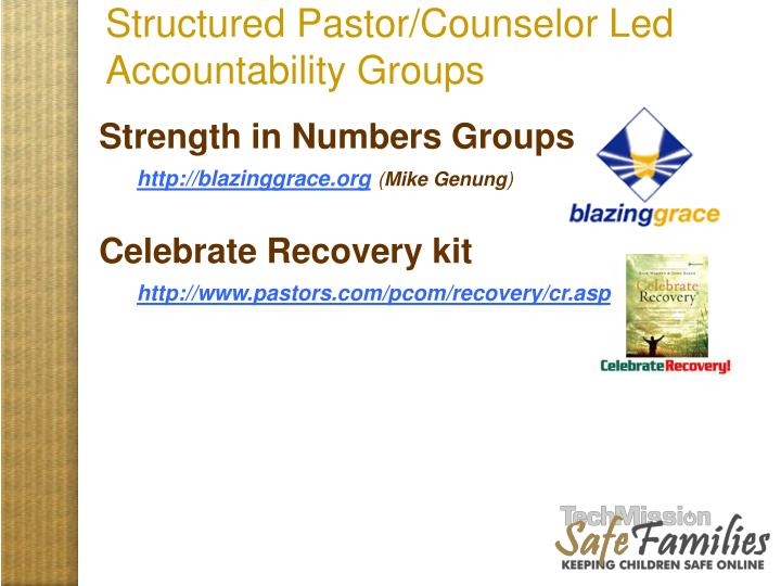 Structured Pastor/Counselor Led Accountability Groups