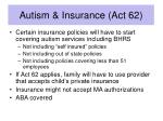 autism insurance act 62