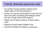 family directed personal care
