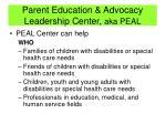 parent education advocacy leadership center aka peal