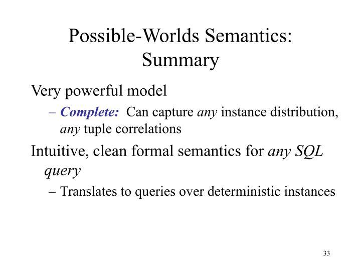 Possible-Worlds Semantics: Summary
