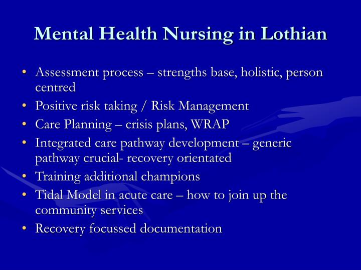 Mental Health Nursing in Lothian