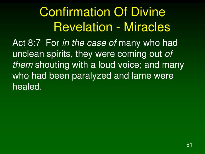 Confirmation Of Divine Revelation - Miracles