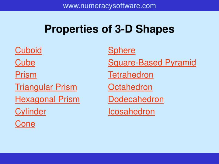 Properties of 3 d shapes