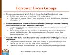 borrower focus groups
