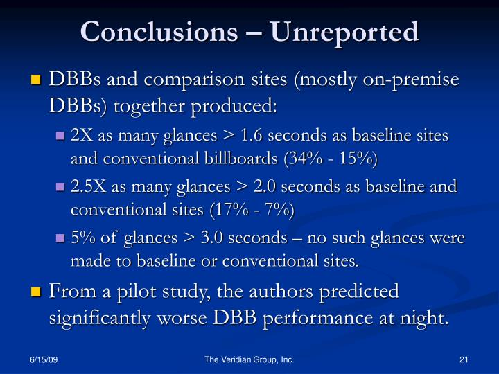 Conclusions – Unreported