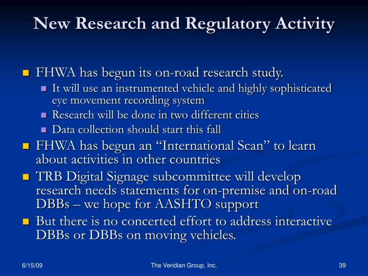 New Research and Regulatory Activity