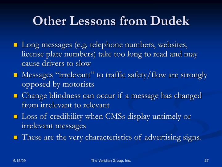 Other Lessons from Dudek