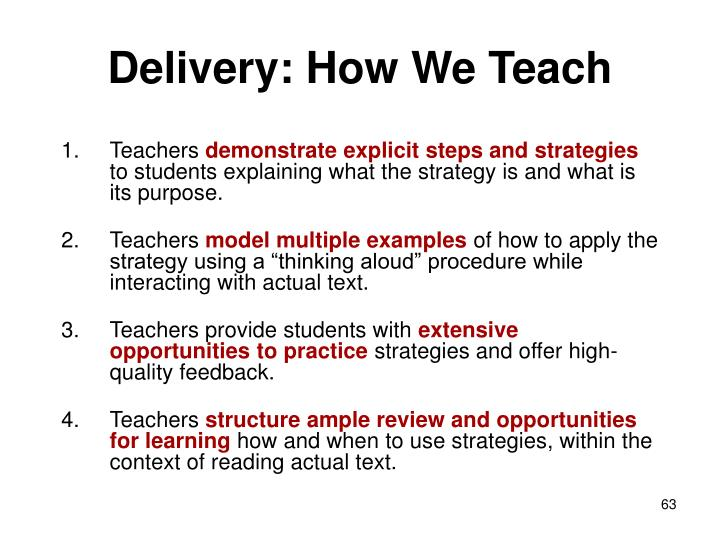 Delivery: How We Teach