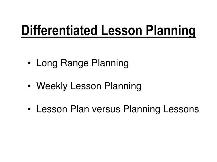 Differentiated Lesson Planning