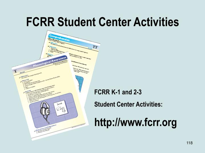 FCRR Student Center Activities