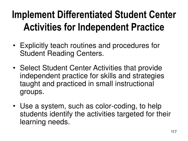 Implement Differentiated Student Center Activities for Independent Practice