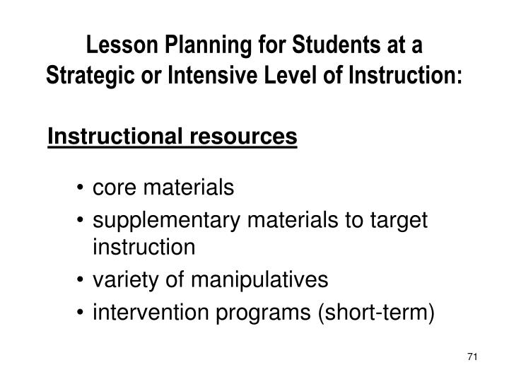 Lesson Planning for Students at a