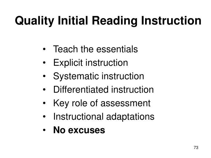 Quality Initial Reading Instruction