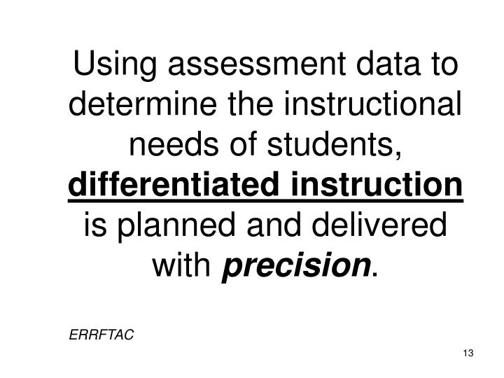 Using assessment data to determine the instructional needs of students,