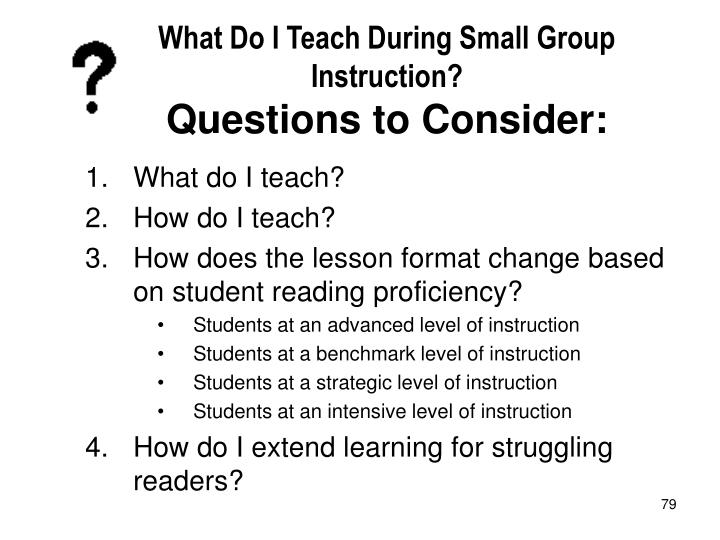 What Do I Teach During Small Group