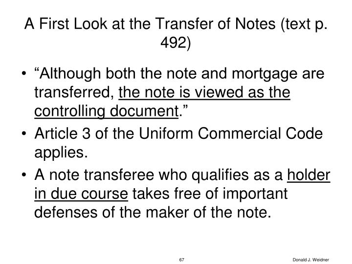 A First Look at the Transfer of Notes (text p. 492)