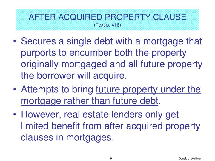 AFTER ACQUIRED PROPERTY CLAUSE