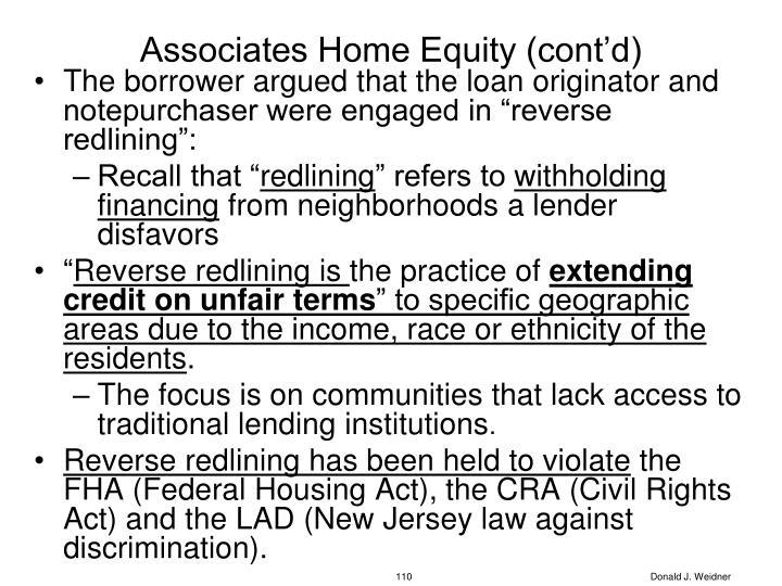 Associates Home Equity (cont'd)