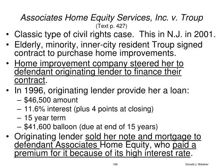 Associates Home Equity Services, Inc. v. Troup