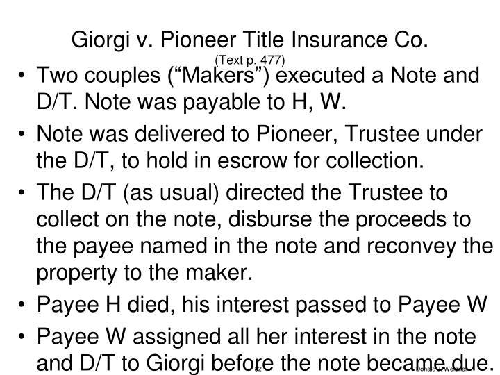 Giorgi v. Pioneer Title Insurance Co.