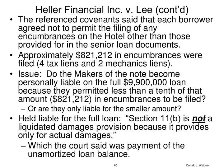 Heller Financial Inc. v. Lee (cont'd)