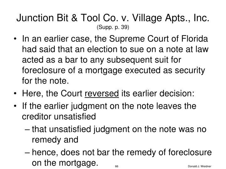 Junction Bit & Tool Co. v. Village Apts., Inc.